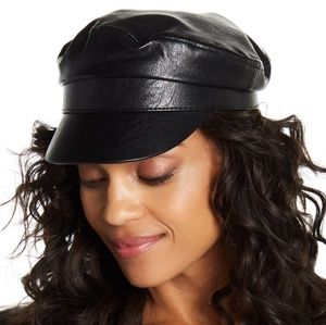 Nordstrom NWT Vegan Leather Newsboy Cap Hat